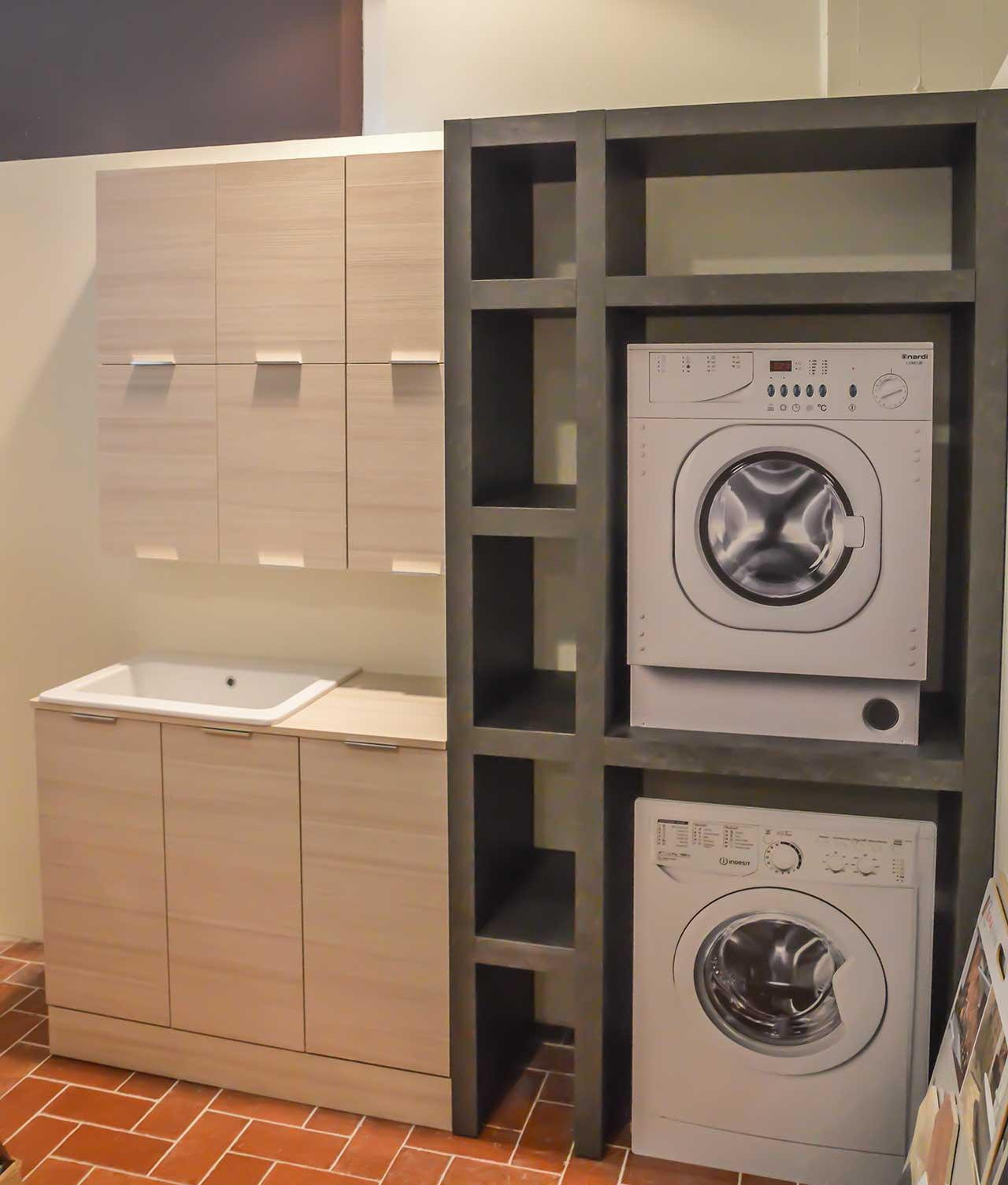 Mobile con lavabo pensile e scaffale portalavatrice - Mobile porta lavatrice ...